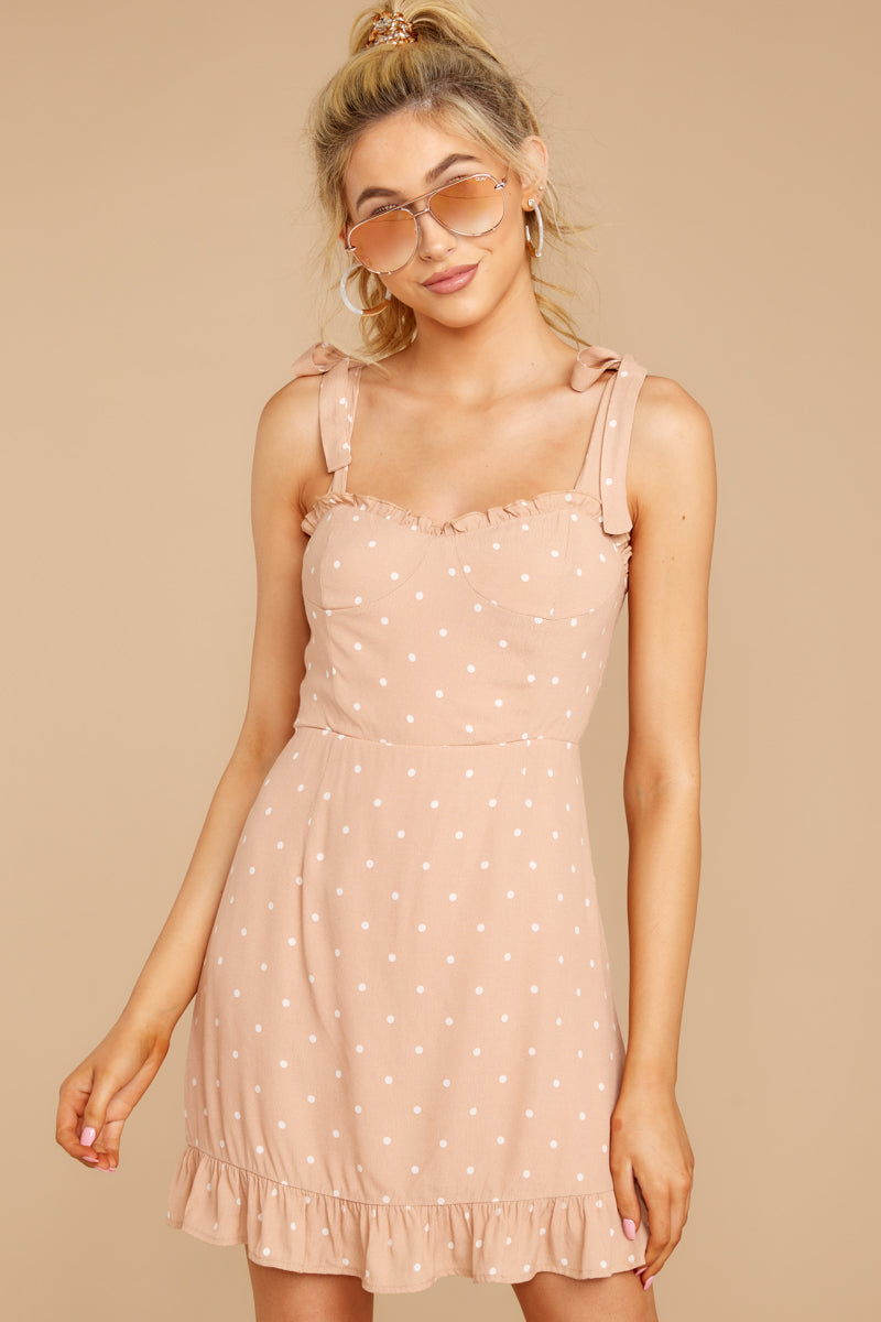 4 Keeping Cool Tan Polka Dot Dress at reddressboutique.com