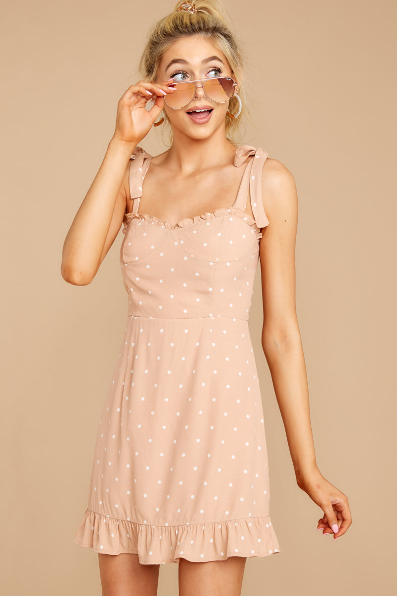 5 Keeping Cool Tan Polka Dot Dress at reddressboutique.com