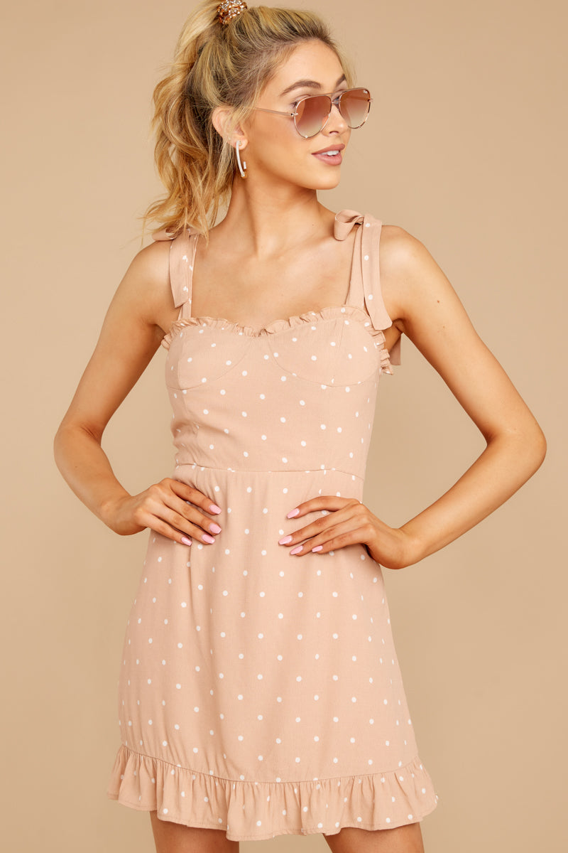 6 Keeping Cool Tan Polka Dot Dress at reddressboutique.com