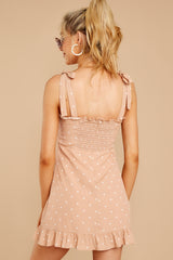 7 Keeping Cool Tan Polka Dot Dress at reddressboutique.com