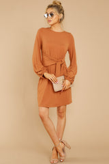 3 Promises Kept Caramel Dress at reddressboutique.com