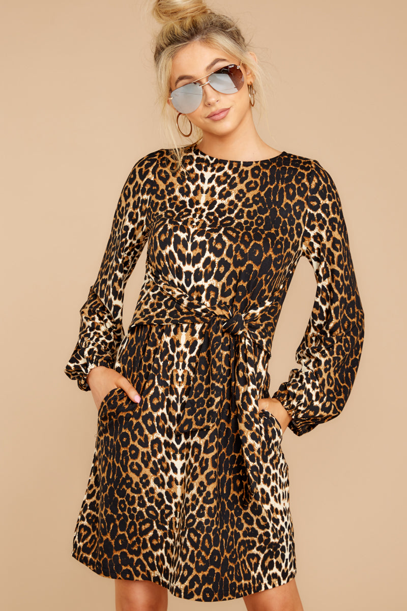 4 Promises Kept Brown Leopard Print Dress at reddressboutique.com