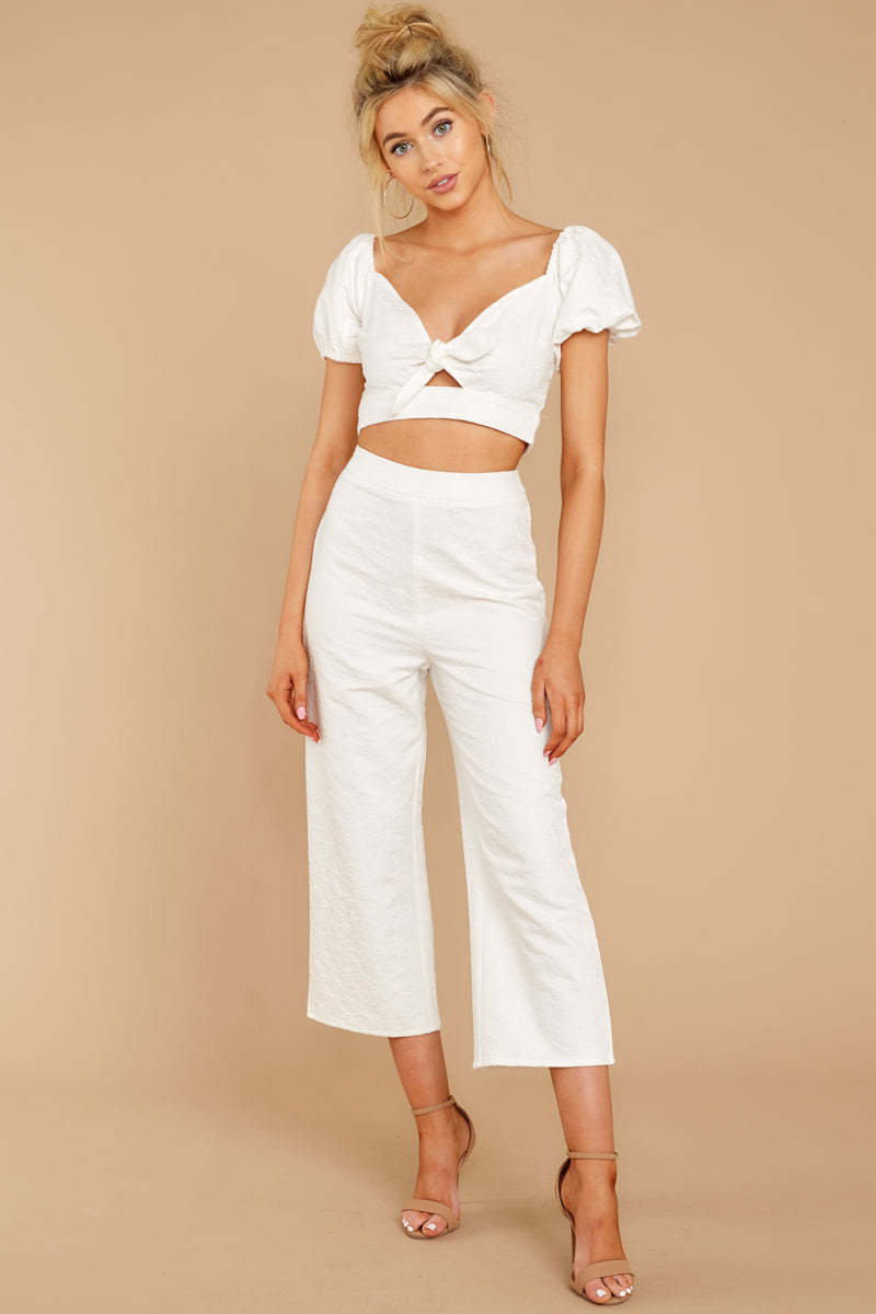 5 Picking Up Vibes White Two Piece Set at reddressboutique.com