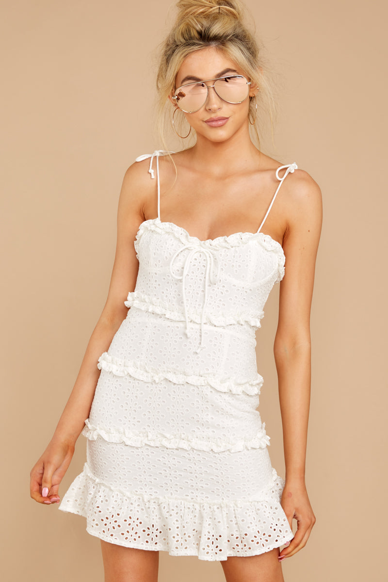 4 Breath Of Fresh Air White Lace Dress at reddressboutique.com