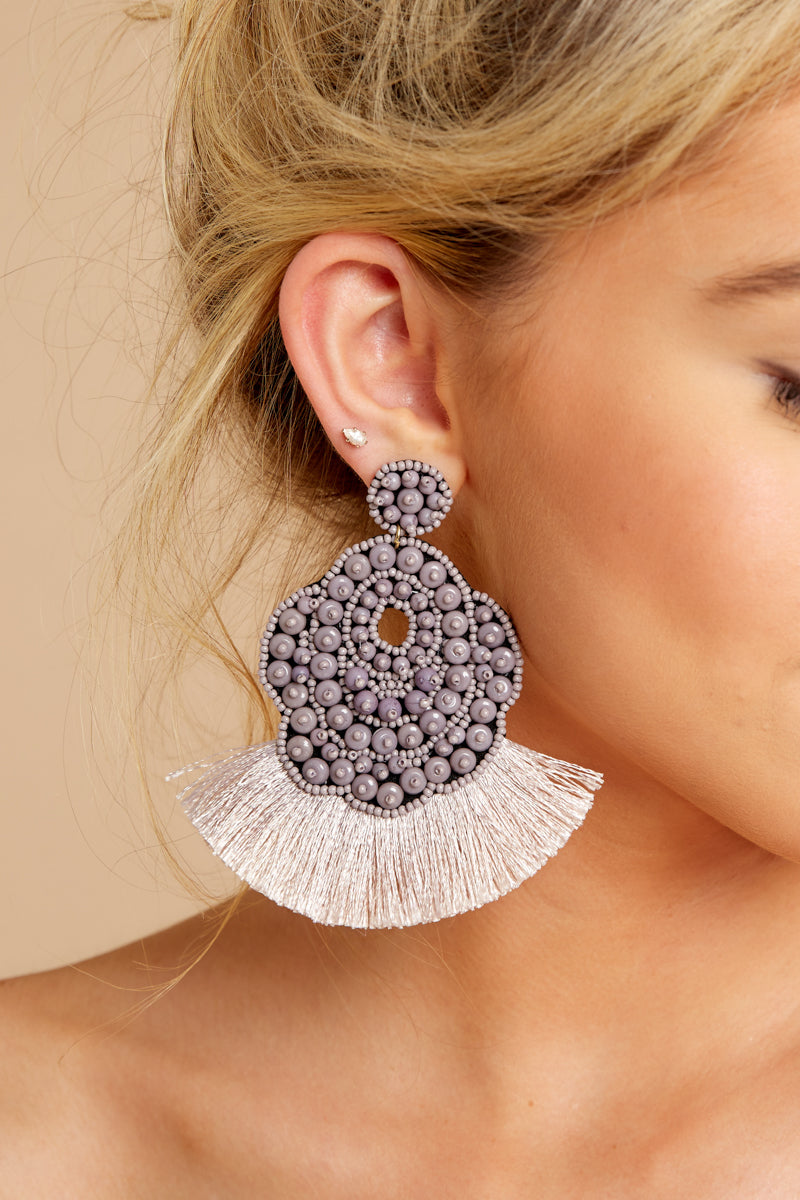 Never Overlooked Grey Statement Earrings