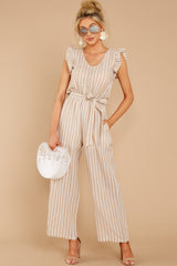 1 Keep Your Chin Up Taupe Stripe Jumpsuit at reddressboutique.com