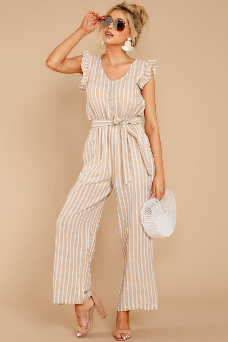 2 Keep Your Chin Up Taupe Stripe Jumpsuit at reddressboutique.com