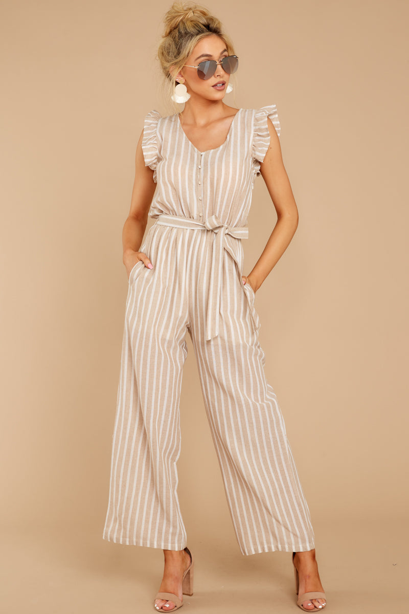 4 Keep Your Chin Up Taupe Stripe Jumpsuit at reddressboutique.com