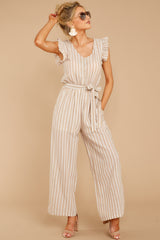 5 Keep Your Chin Up Taupe Stripe Jumpsuit at reddressboutique.com