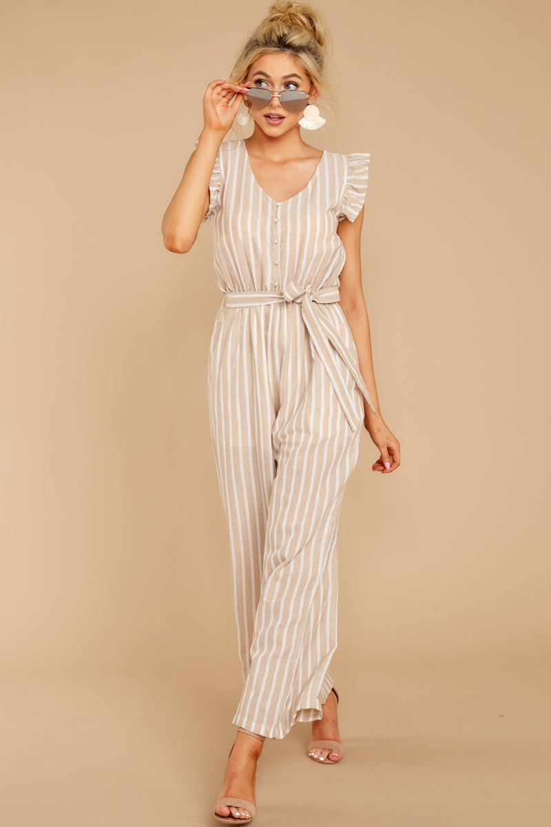 6 Keep Your Chin Up Taupe Stripe Jumpsuit at reddressboutique.com