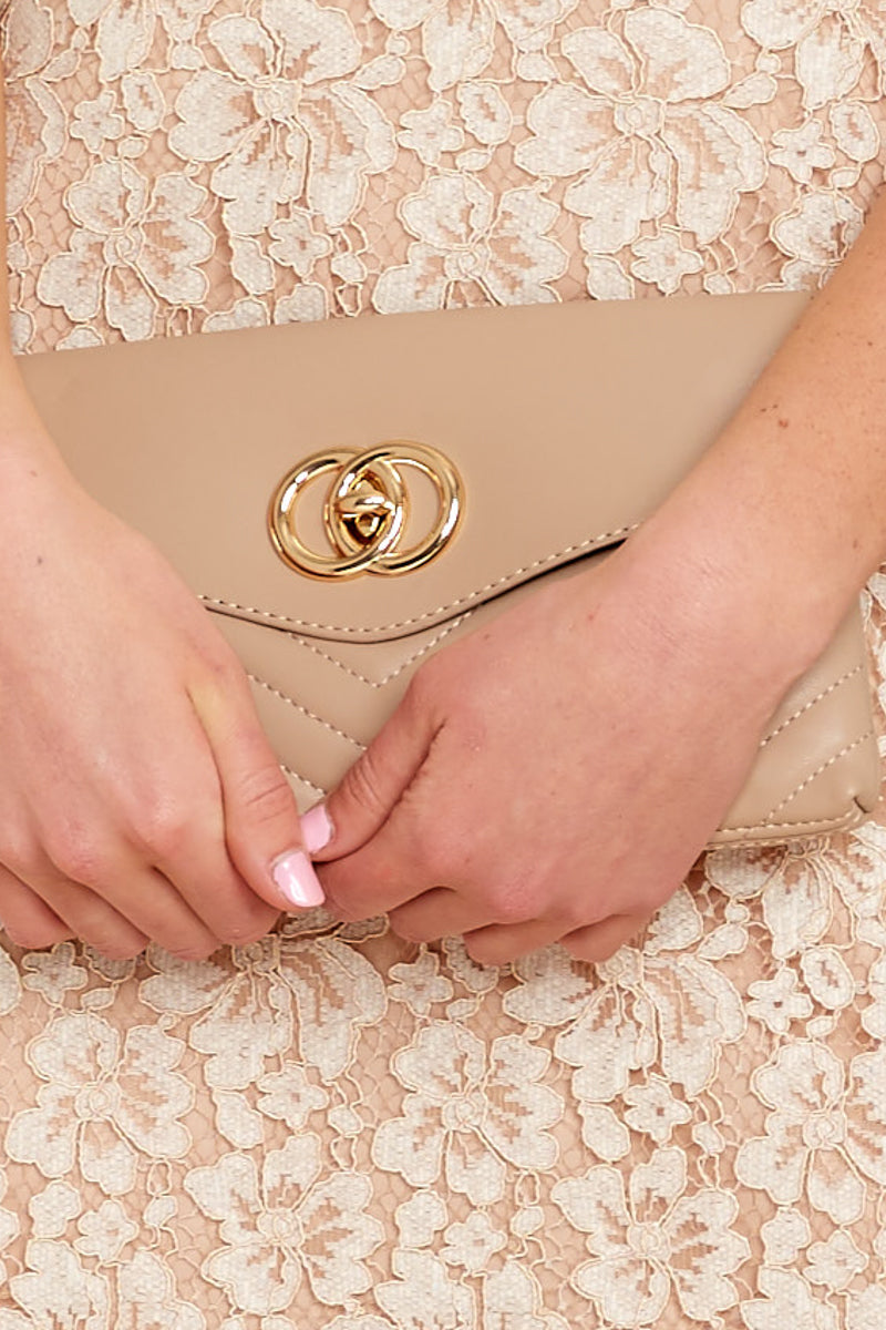 2 Clear To See Beige Clutch at reddressboutique.com