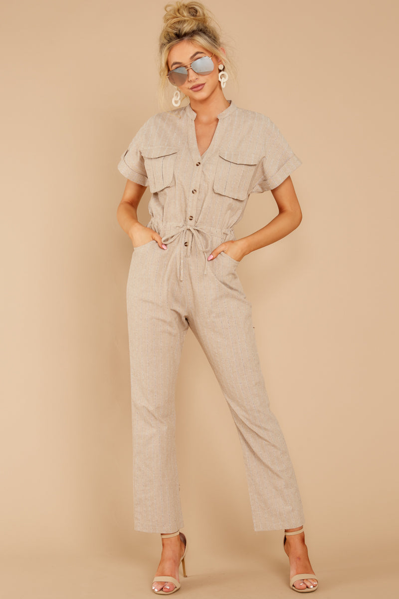 1 Don't Worry About This Taupe Jumpsuit at reddressboutique.com