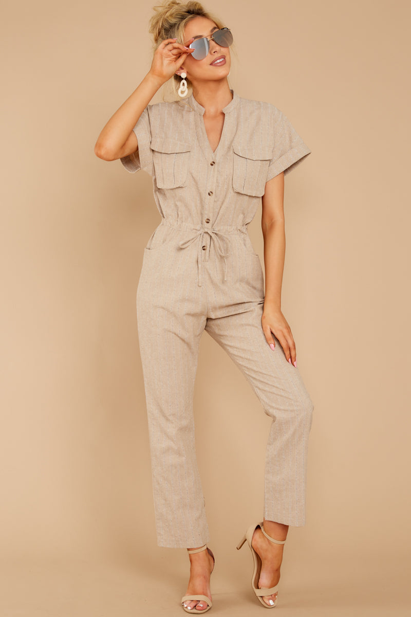 2 Don't Worry About This Taupe Jumpsuit at reddressboutique.com