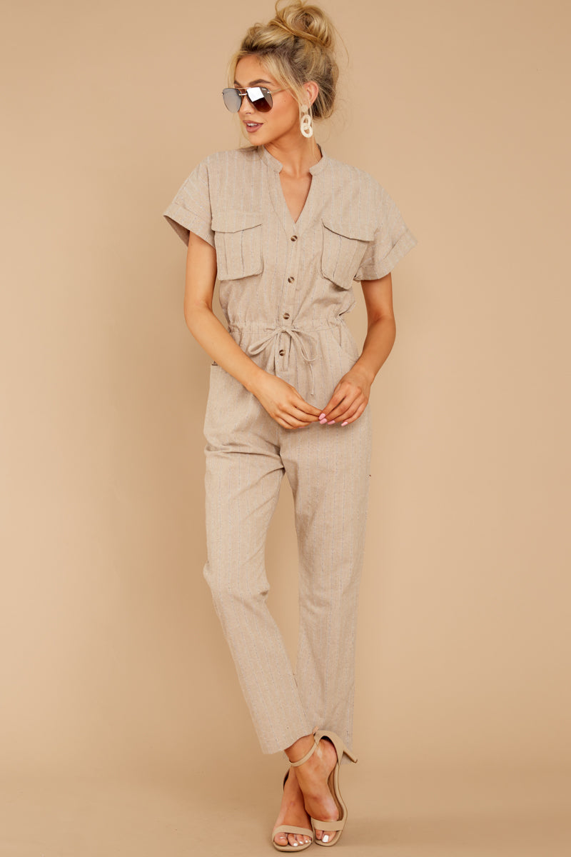 3 Don't Worry About This Taupe Jumpsuit at reddressboutique.com