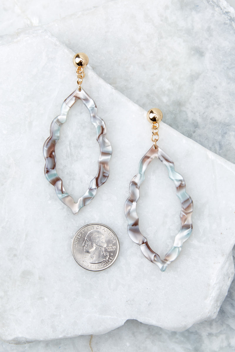 3 Simply Radiant Grey Tortoise Acrylic Earrings at reddressboutique.com