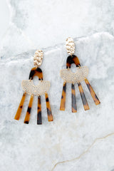 2 Oh Hi There Tortoise And Gold Acrylic Earrings at reddressboutique.com