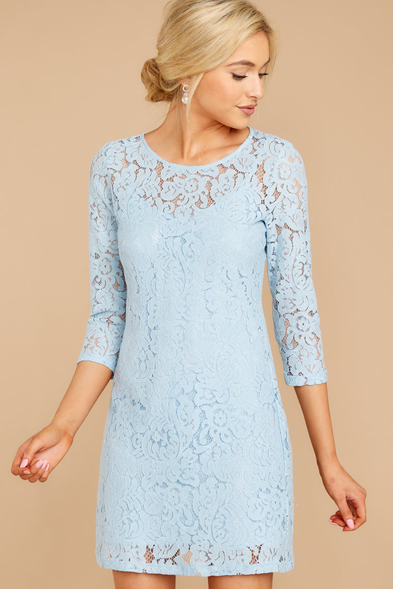 See Me Off Light Blue Lace Dress
