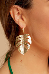 3 By Your Leaf Gold Earrings at reddressboutique.com