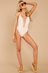 5 Warm Waters Yellow Stripe One Piece Swimsuit at reddress.com