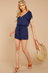 2 The Blaire Sleek Jersey Romper In Black Iris at reddressboutique.com