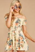 Tall Flowy Shirred Off the Shoulder Spring Romper