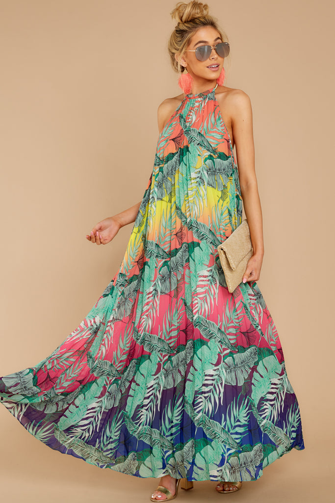 1 Flamenco Dancing Green Tropical Print Maxi Dress at reddressboutique.com