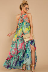 4 Mesmerized By You Multi Tropical Print Maxi Dress at reddressboutique.com