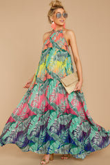 5 Mesmerized By You Multi Tropical Print Maxi Dress at reddressboutique.com
