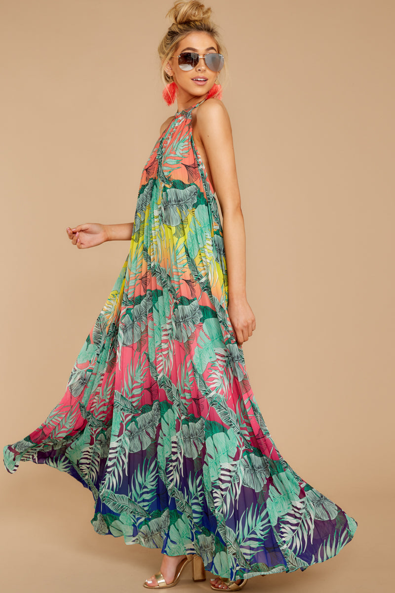 8 Mesmerized By You Multi Tropical Print Maxi Dress at reddressboutique.com