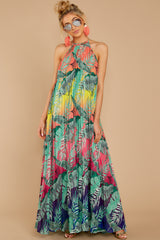 9 Mesmerized By You Multi Tropical Print Maxi Dress at reddressboutique.com