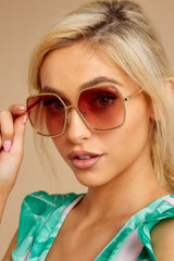 2 Undercover Gold Peach Sunglasses at reddressboutique.com