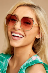3 Undercover Gold Peach Sunglasses at reddressboutique.com