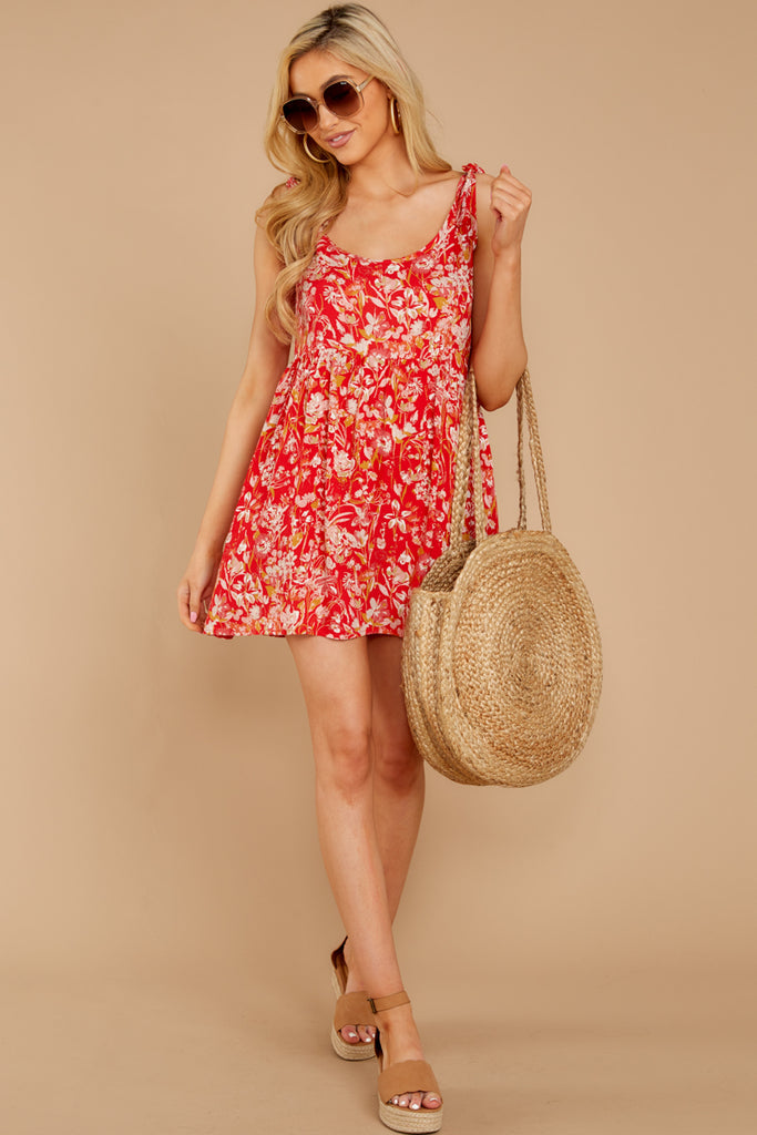 1 Every Now And Then Red Floral Print Dress at reddressboutique.com