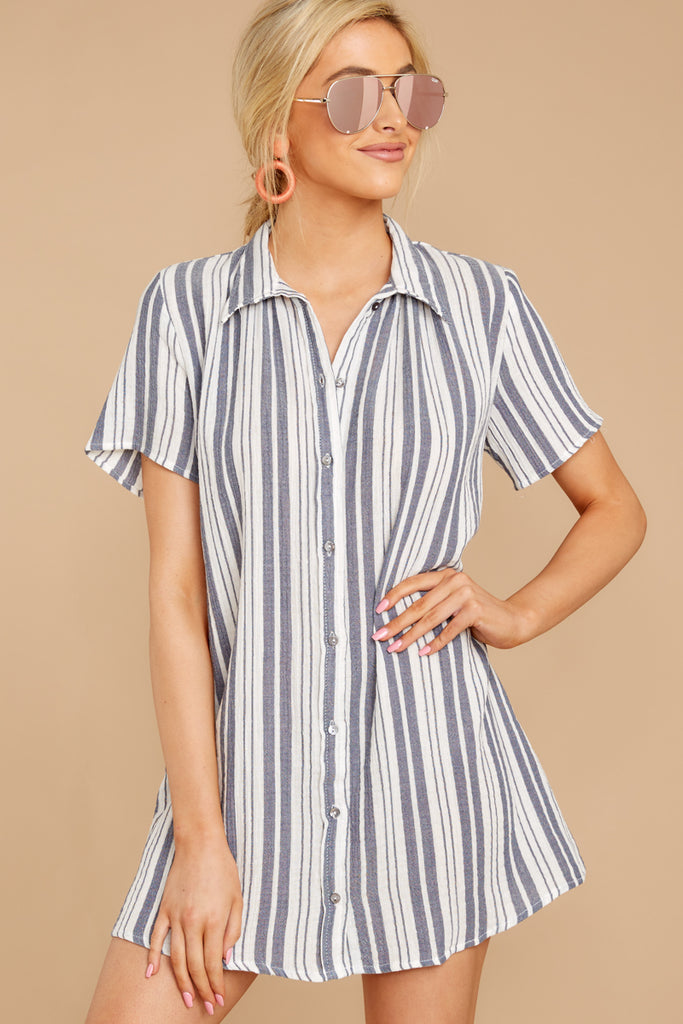 1 My Agenda Blue Multi Stripe Button Up Dress at reddressboutique.com