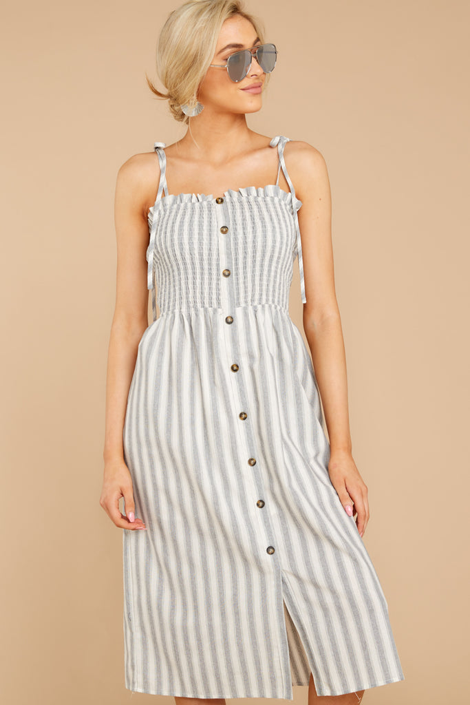 5 Happens With Time Grey Stripe Dress at reddressboutique.com