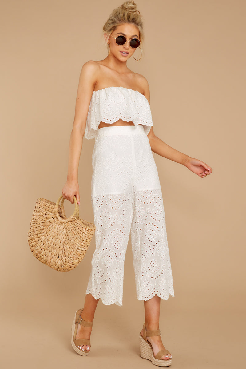 2 See Your Vision White Eyelet Two Piece Set at reddressboutique.com