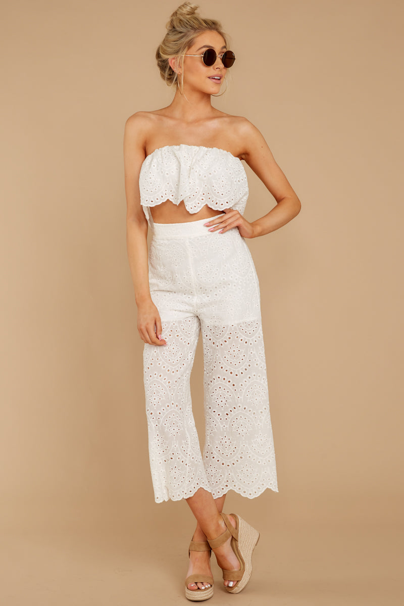 4 See Your Vision White Eyelet Two Piece Set at reddressboutique.com
