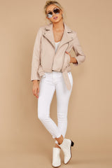2 Blind To Haters Beige Vegan Leather Jacket at reddressboutique.com