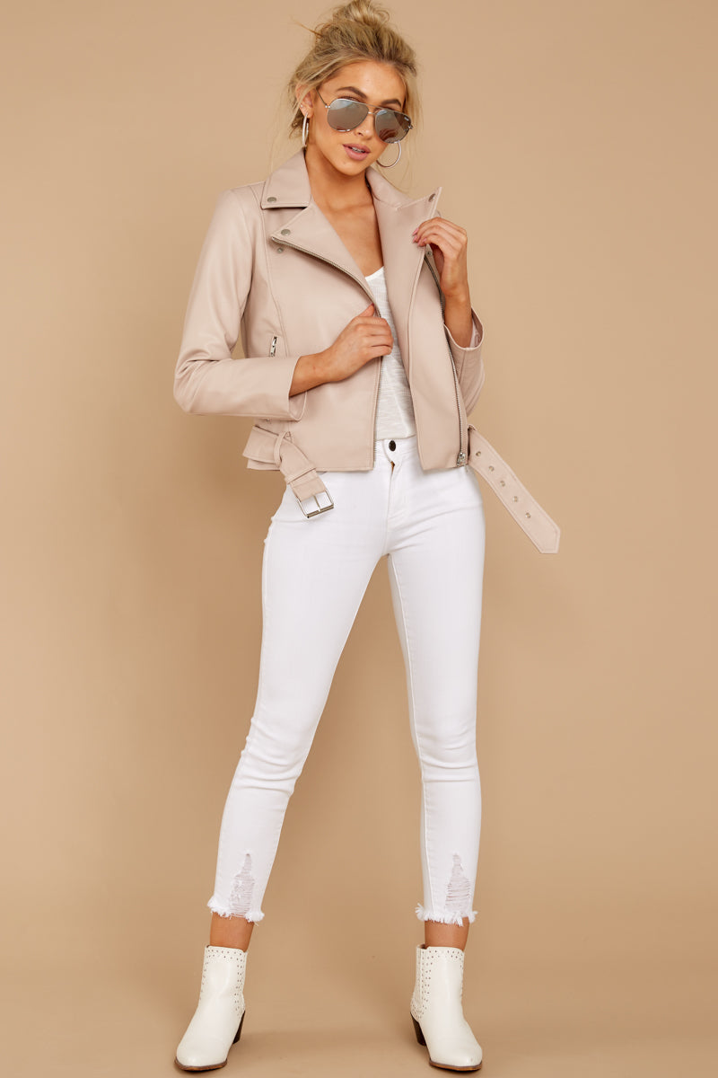 1 Blind To Haters Beige Vegan Leather Jacket at reddressboutique.com