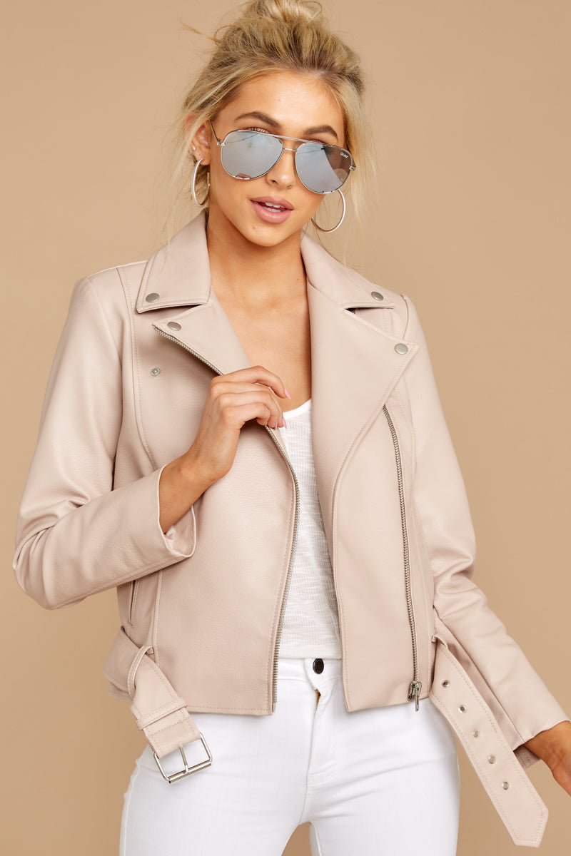3 Blind To Haters Beige Vegan Leather Jacket at reddressboutique.com