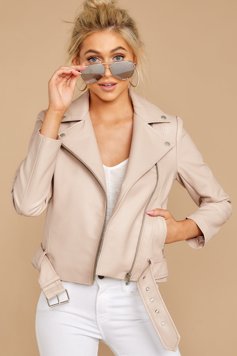 4 Blind To Haters Beige Vegan Leather Jacket at reddressboutique.com