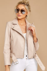 5 Blind To Haters Beige Vegan Leather Jacket at reddressboutique.com