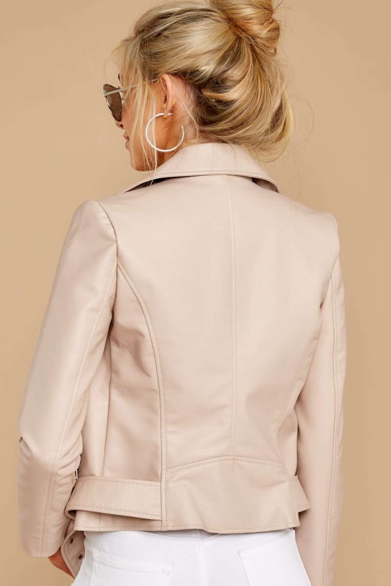 6 Blind To Haters Beige Vegan Leather Jacket at reddressboutique.com