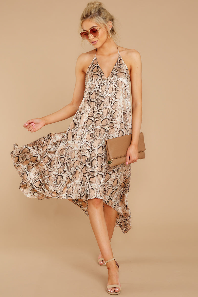 1 She's A Sly One Tan Snake Print High-Low Dress at reddressboutique.com
