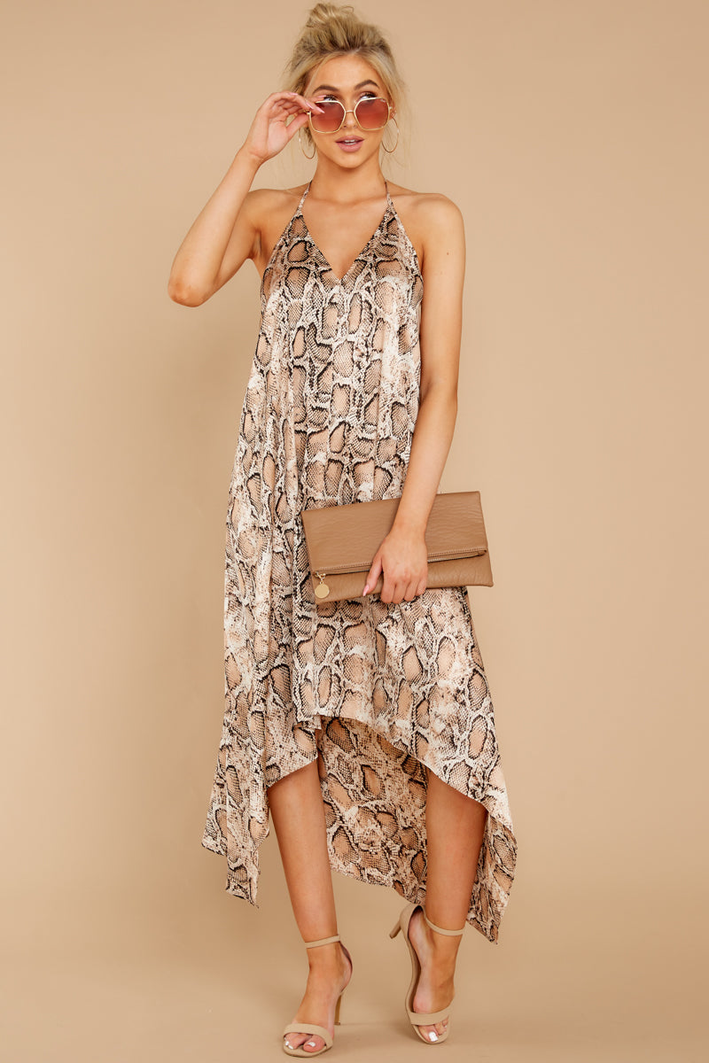 2 She's A Sly One Tan Snake Print High-Low Dress at reddressboutique.com