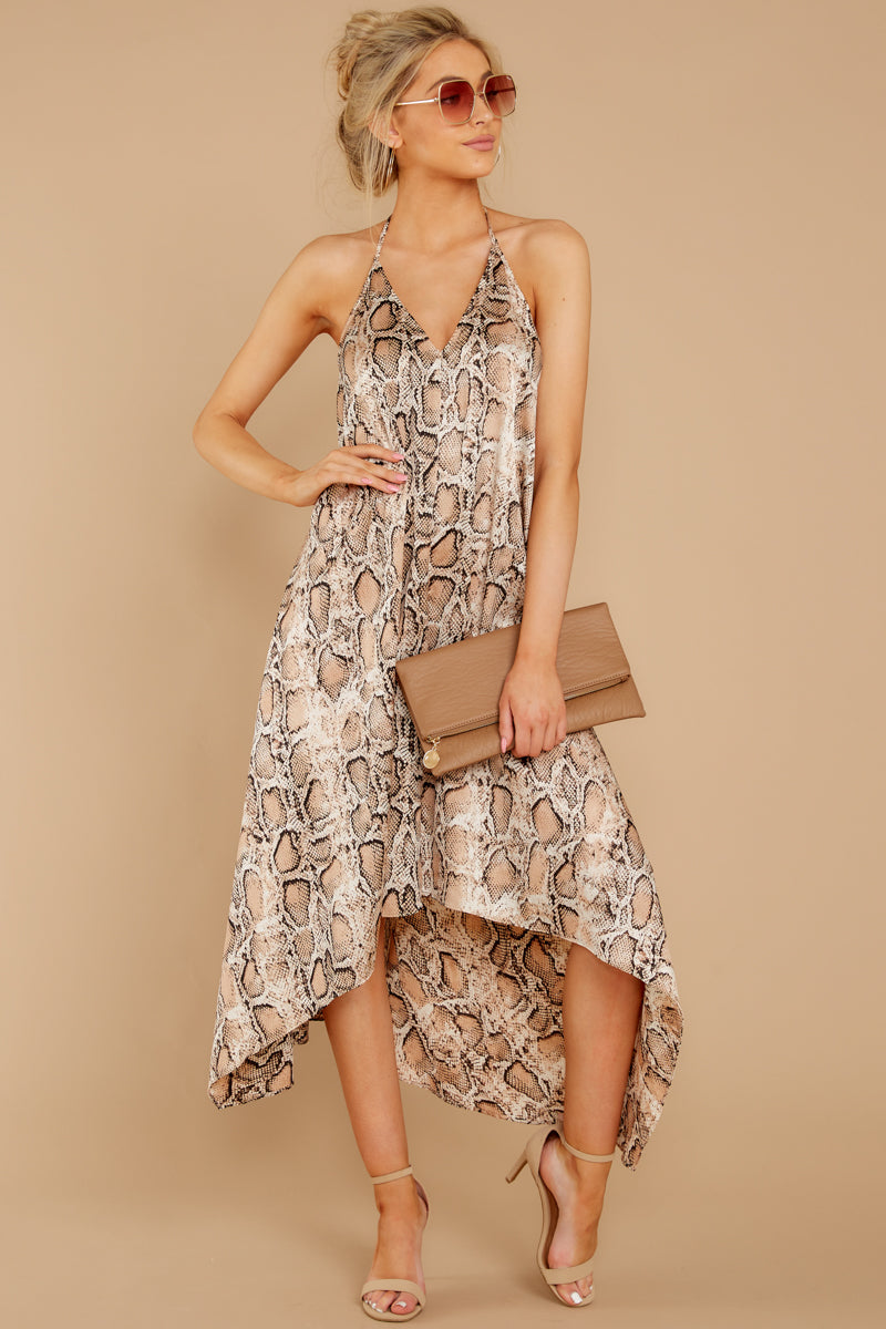 3 She's A Sly One Tan Snake Print High-Low Dress at reddressboutique.com