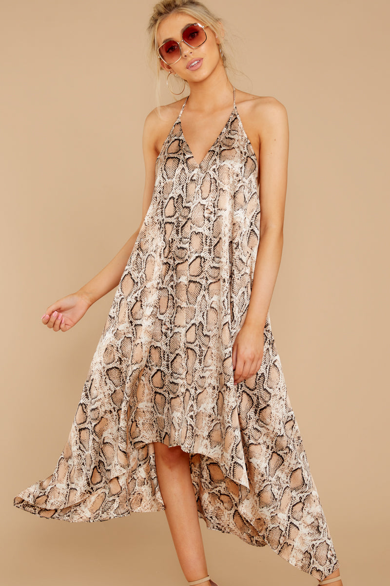4 She's A Sly One Tan Snake Print High-Low Dress at reddressboutique.com