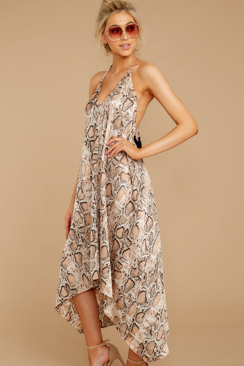 5 She's A Sly One Tan Snake Print High-Low Dress at reddressboutique.com