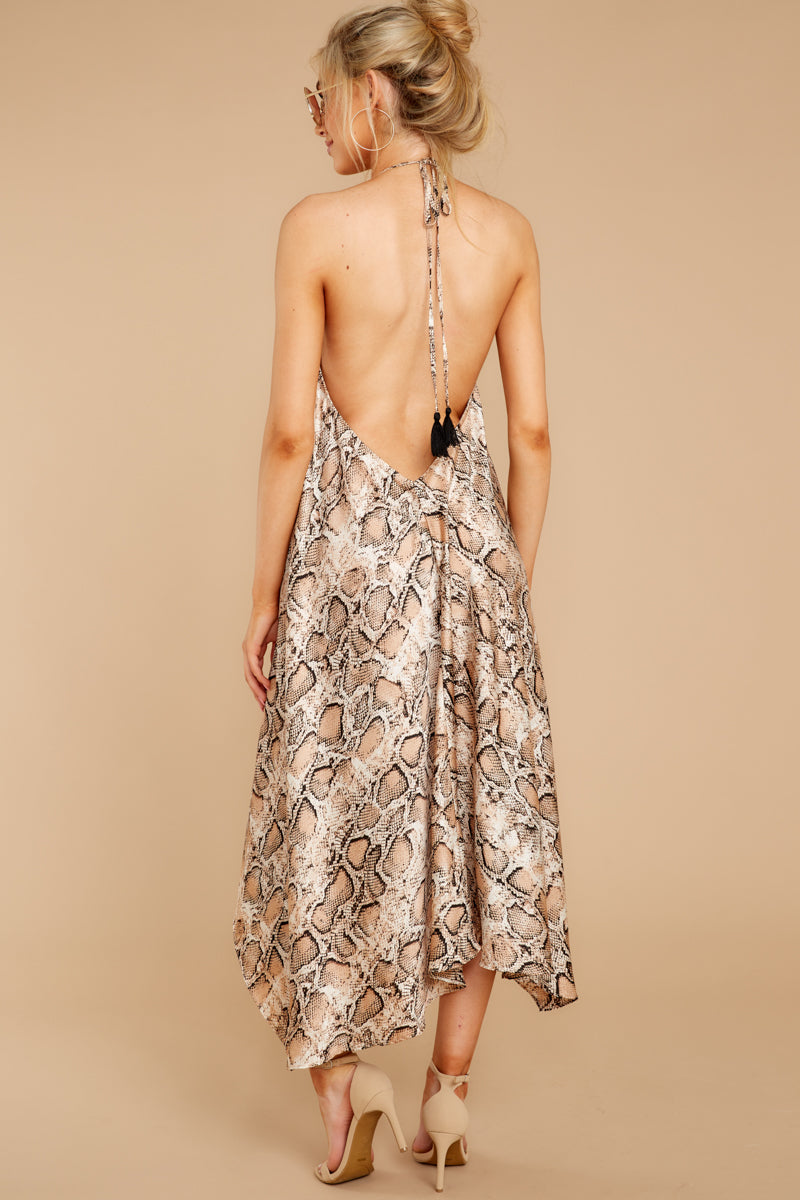 6 She's A Sly One Tan Snake Print High-Low Dress at reddressboutique.com