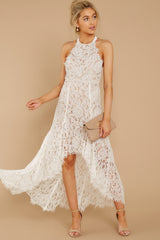 4 Strive For It White Lace High-Low Dress at reddressboutique.com